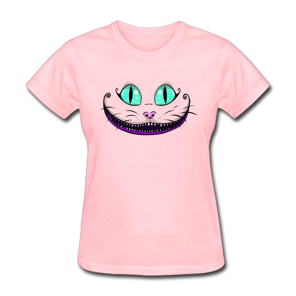 Big Face Cat Customized Cotton Print O-Neck Short Sleeve Pink Shirts Girls Funny Camiseta