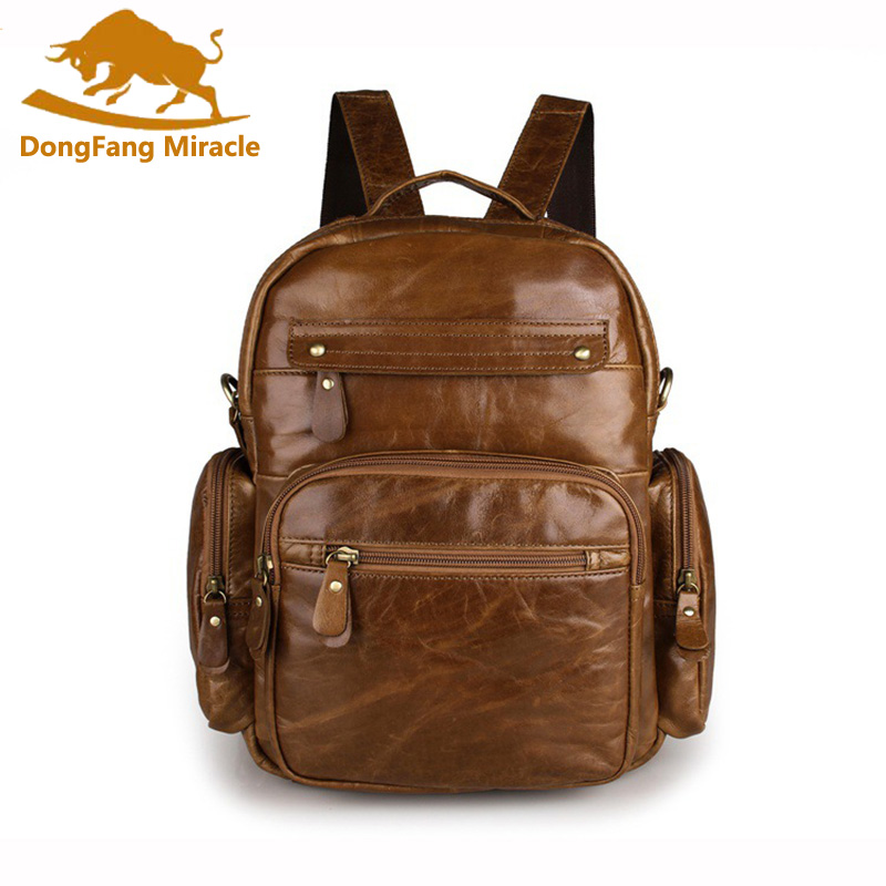 DongFang Miracle Multi-function Cowhide Genuine Leather Women Backpack Leather School Backpack Unisex Rucksack Travel  Bag Tote