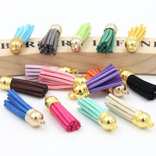5Pcs/lot Suede Tassel Fringe DIY Clothing package Key Chain Bag Findings Pendants Crafts Handmade Jewelry Making Accessories(China)