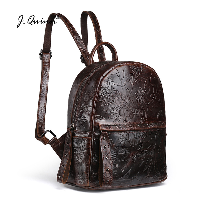 J.Quinn Small Women Backpacks Print Flower Genuine Leather Womens Backpack Bag Crossbody Bags for Girls Retro Ladies Bags aequeen womens backpacks nylon backpack shoulder bags fashion ladies small ruck school for girls travelling shopping bag