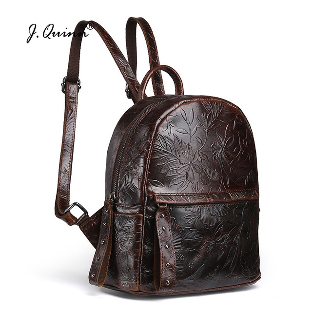 J.Quinn Small Women Backpacks Print Flower Genuine Leather Womens Backpack  Bag Crossbody Bags for Girls Retro Ladies Bags 77b0e7161e