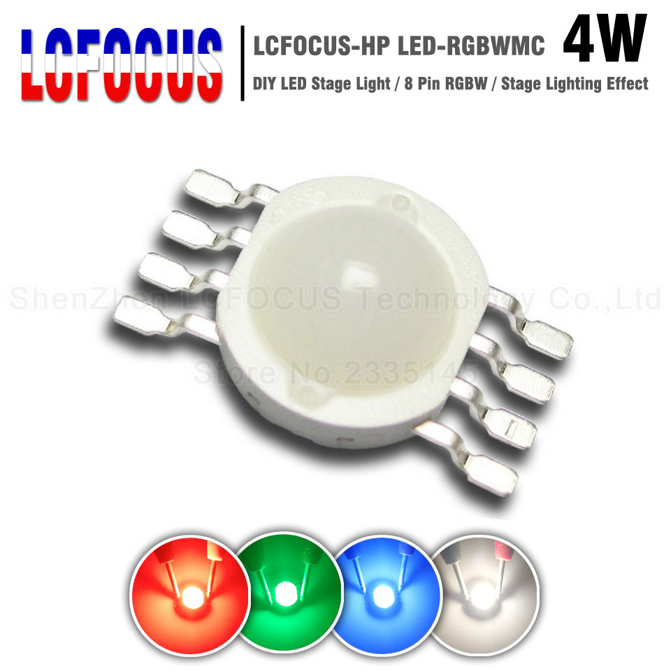 4W Milky Cover RGBW LED Stage Lights 30mil Epistar SMD Diode COB 8 pin For High Power 1 3 5 Watt Red Green Blue White LED Chip