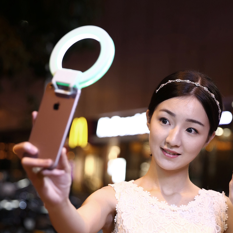 Кольцо для селфи Selfie Ring Light на батарейке розовое