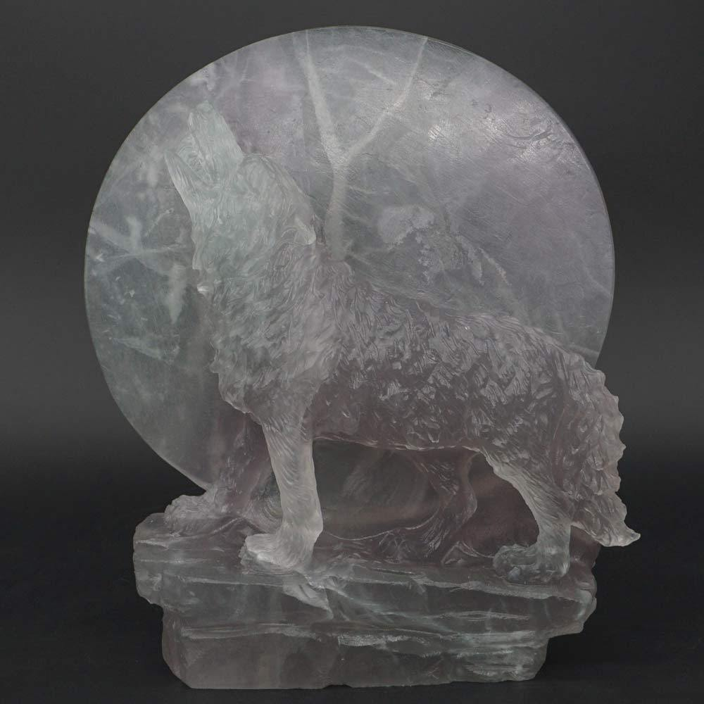 Wolf Statue Under The Moon Natural Gems Fluorite Carved Crystal Healig Decor 6 quot in Statues amp Sculptures from Home amp Garden