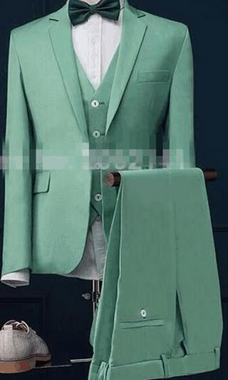 Men 3Pcs Mint Green Slim Fit Suit Groom Tuxedos Dinner Prom Formal Suit Custom