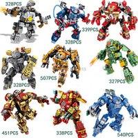 2017 caliente compatible LegoINGlys Marvel Super hero Avengers iron Man MK series Bloques de Construcción Deformación armadura de ladrillo juguetes de regalo