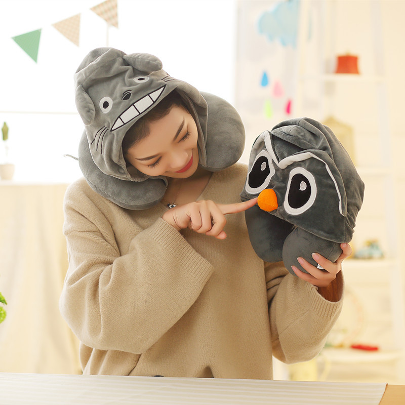 Owl Pillow Travel Pillow U-Shaped Cartoon Unicorn Hooded Neck Pillow Office Car Sleep Anime Print Decorative Pillow Home Cushion best girl toys 2017