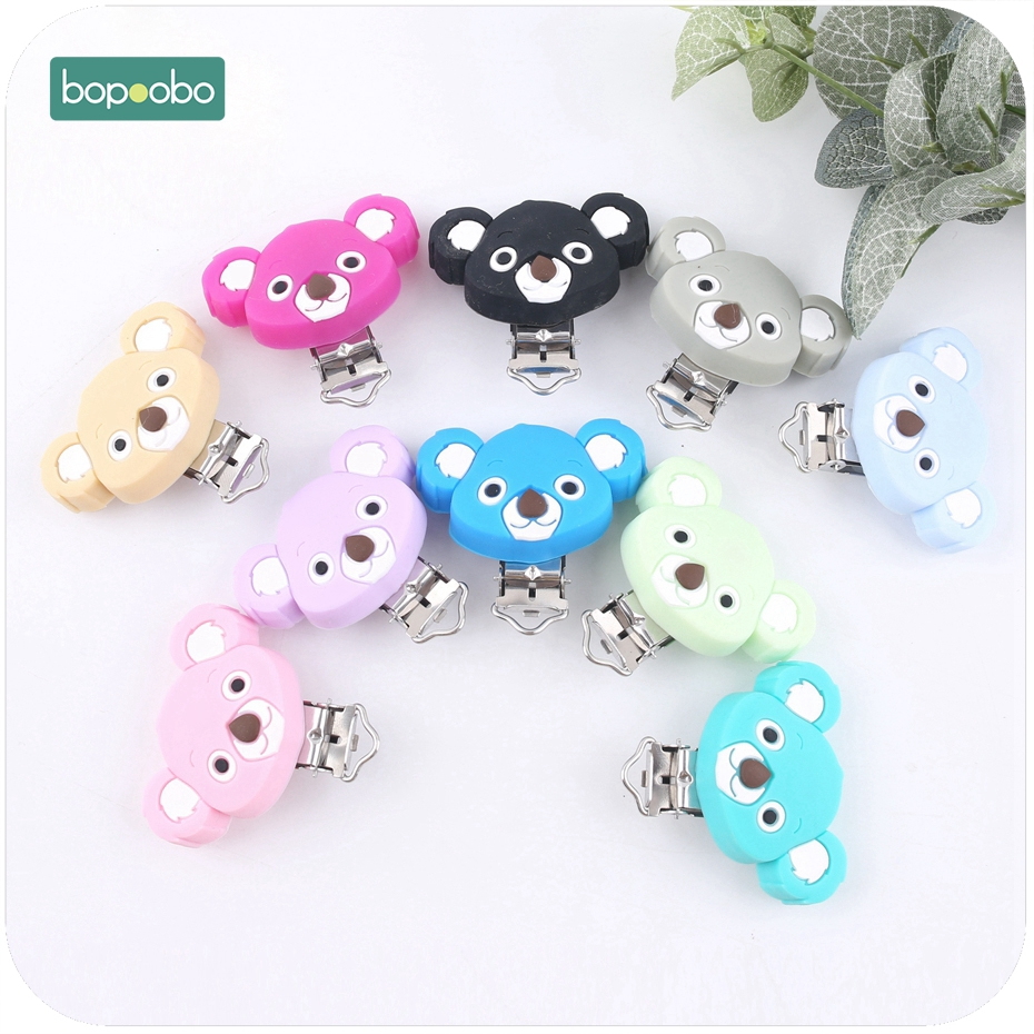 Bopoobo 10PC Cute Koala Silicone Pacifier Clip Teething Accessories DIY Crafts Pacifier Holder Safe Teether Baby Shower Gift