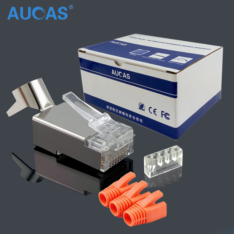 10 / 50pcs Aucas CAT7 RJ45 plag perisai FTP 8P8C Network Crimp Connector 1.45mmgold terminal bersalut dengan pelindung but