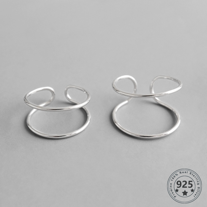 LouLeur Real 925 Sterling Silver Double Lines Rings Casual Geometric Simple Rings Women Fashion Minimalism Jewelry Dropshipping