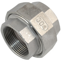 MEGAIRON BSPT 2 DN50 Thread Malleable Female Straight Union Coulping Pipe Fittings Stainless Steel SS304