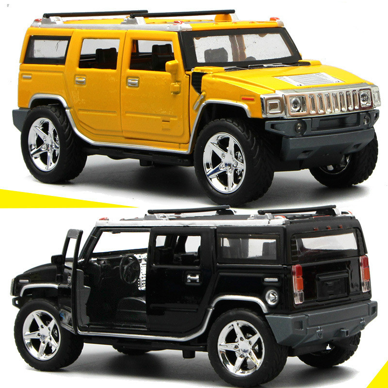 For Hummer H2 Off Road Alloy Cars Toy Model Sound Light Pull Back Open Door Car Auto Slgoed Birthday Gifts Kid