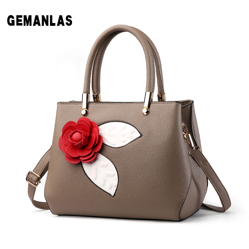Size 26 22 12cm Free Shipping 2017 New flower decoration woman handbag High quality pu national