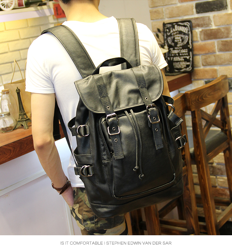 051018 new hot man fashion leather travel backpack student school bag 14