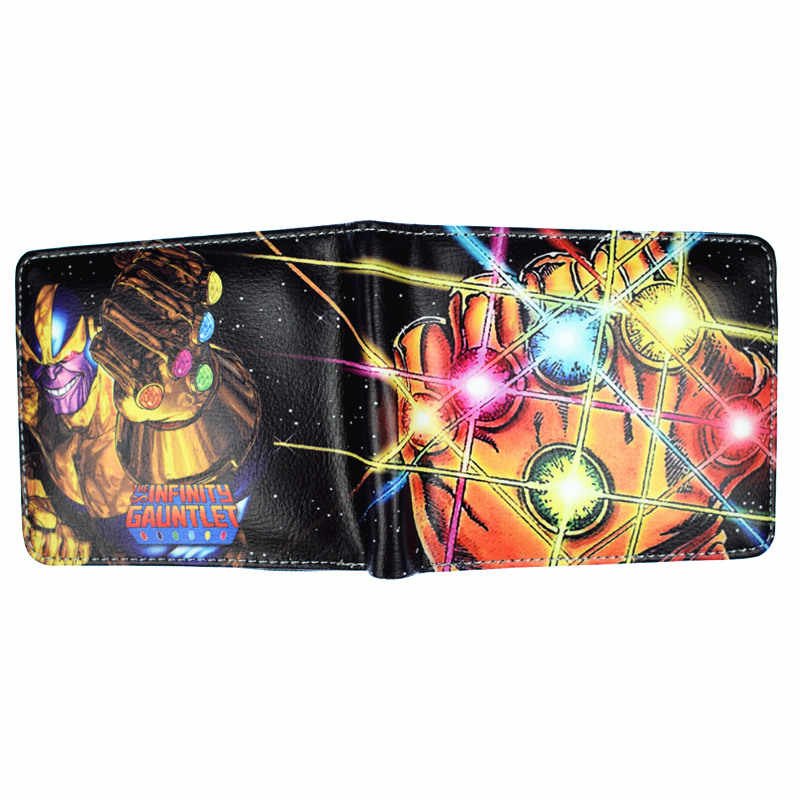 New Arrival Men's Short Wallet Marvel Comics Villain Boss Thanos The Infinity Gauntlet Purse With Zipper Poucht
