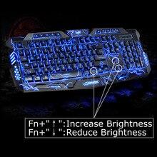 100{e3d350071c40193912450e1a13ff03f7642a6c64c69061e3737cf155110b056f} Original LED Juego de Teclado 3 Colores Grieta USB Iluminado Multimedia PC teclado Para Juegos de luz de Fondo Ajustable