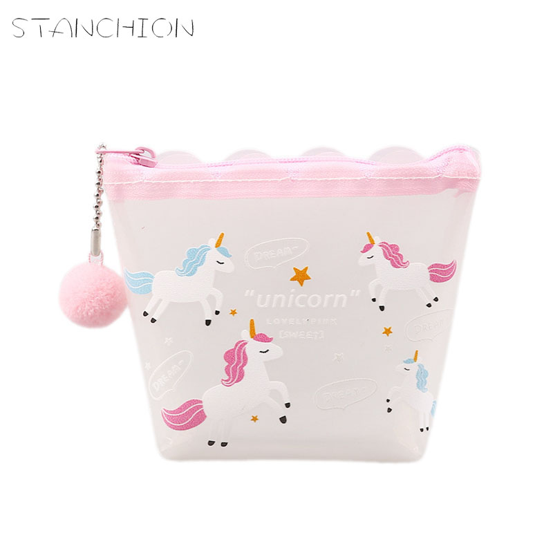 STANCHION Pink Girl Heart Purse Female Student Cute Portable Storage Bag PVC Coin Bag Wallet