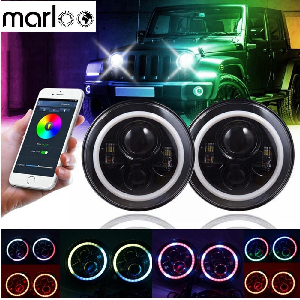 Marloo 7 LED Headlights RGB Halo Angel Eye with Bluetooth Remote For Jeep Wrangler JK LJ CJ Sahara Sport Rubicon Hummer 7 led headlights bulb rgb halo angel eye with bluetooth remote for 1997 2016 jeep wrangler jk lj cj hummer h1 h2 headlamp