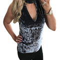 2017 Nueva Sexy Halter Con Cuello En V Sin Mangas de Terciopelo Camisetas Top Chaleco de Tela de Terciopelo de Las Mujeres Femeninas Tops Solid Velour Camisetas GV502