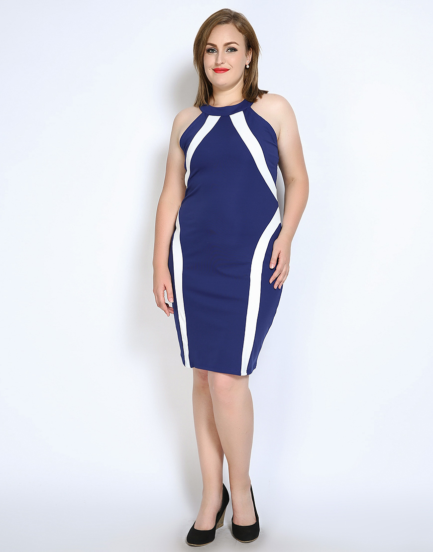 Cute Ann Women s Plus Size Strap Cocktail Party Dress Color Blocked Knee  Length Semi Formal Night Out Dress Summer Spring 7XL-in Dresses from Women s  ... d2d7547a873a