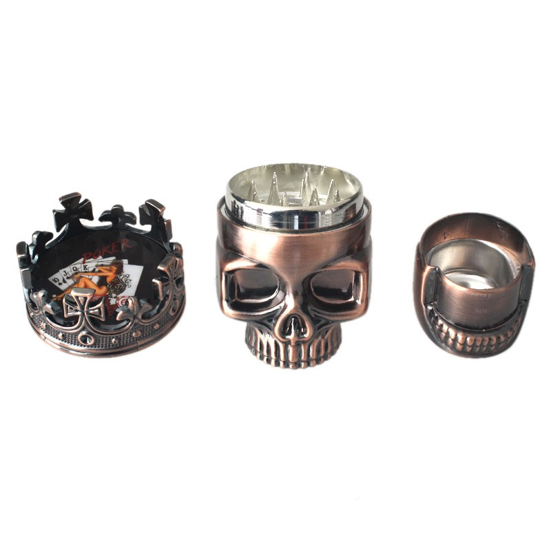 New Arrival Classic Hot King Skull Metal Tobacco Herb Spice Grinder 3 Layers Crusher Hand Muller 1