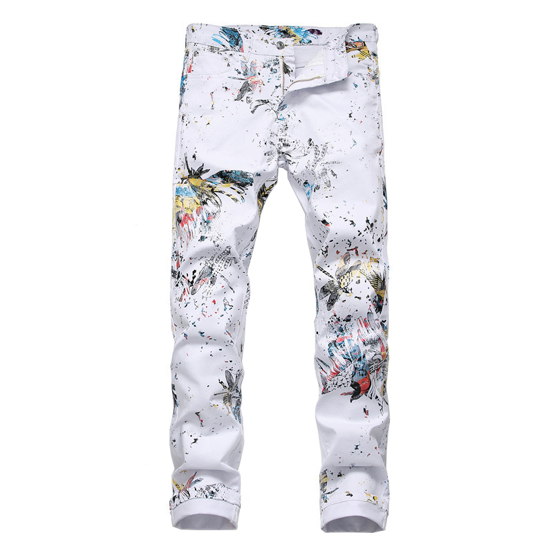 Sokotoo Men's Dragonfly Printed White Jeans Fashion Slim Fit Colored Painted Stretch Pencil Pants