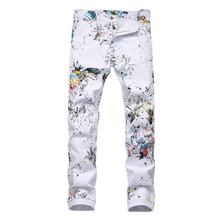 White Jeans Sokotoo Printed Colored Stretch-Pencil-Pants Dragonfly Slim-Fit Men's Fashion