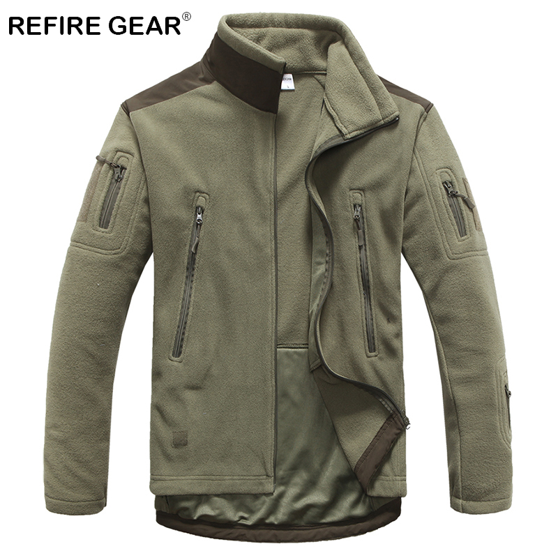 ReFire Gear Winter Outdoor Warm Tactical Fleece Jackets Men Thick Windproof Multi Pockets Military Jackets Camping Army Clothing