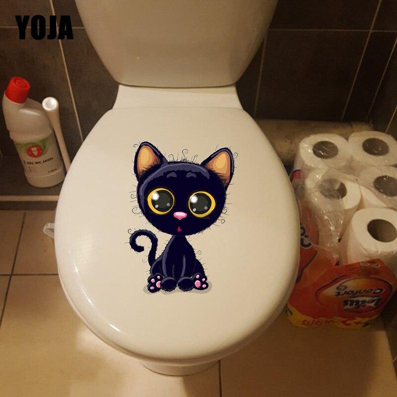 YOJA 16.8*22.3CM Cartoon Cat Home Bathroom Decor Wall Decal Funny Toilet Sticker T1-0158