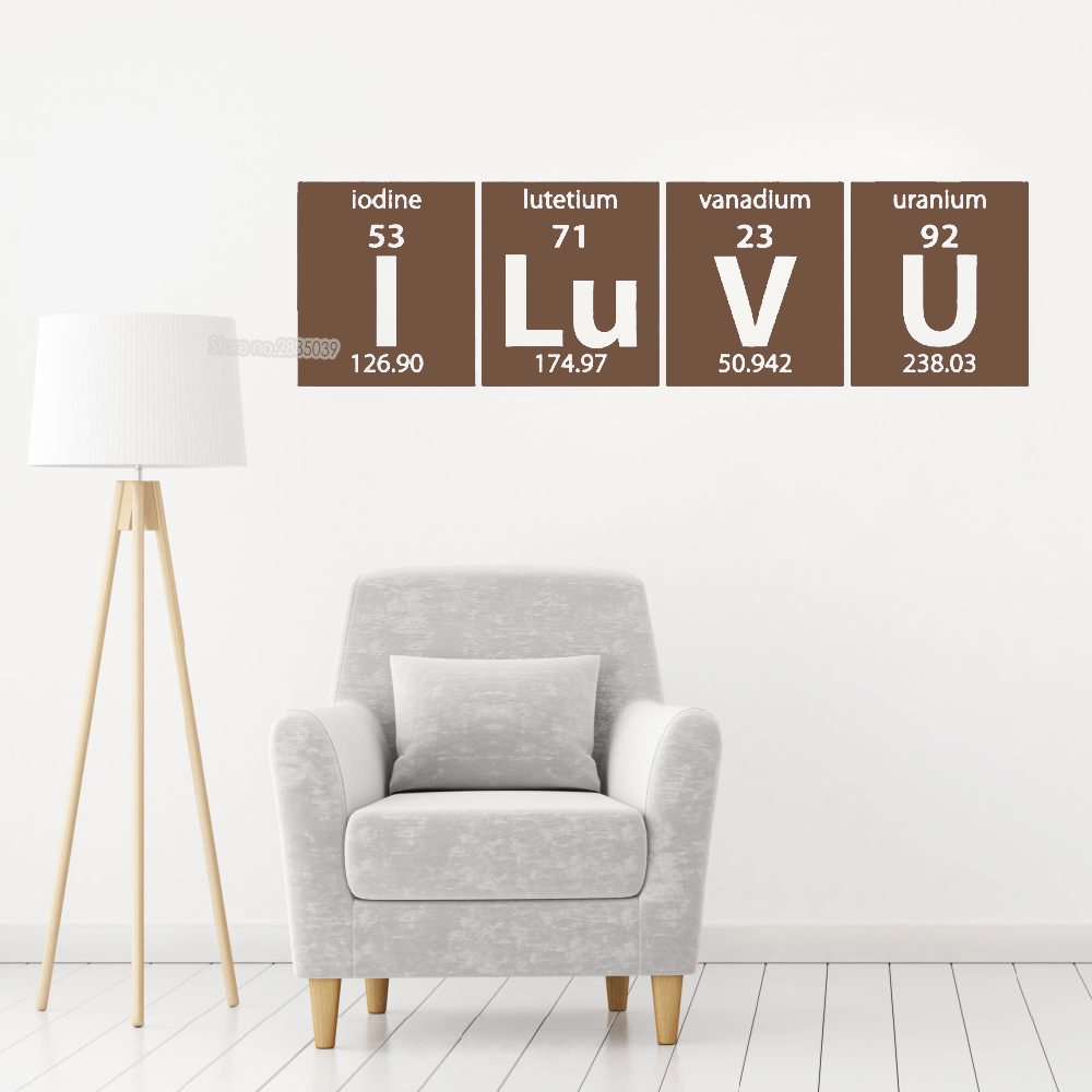 Romantic Periodic Table I Love You Wall Stickers For Living Room