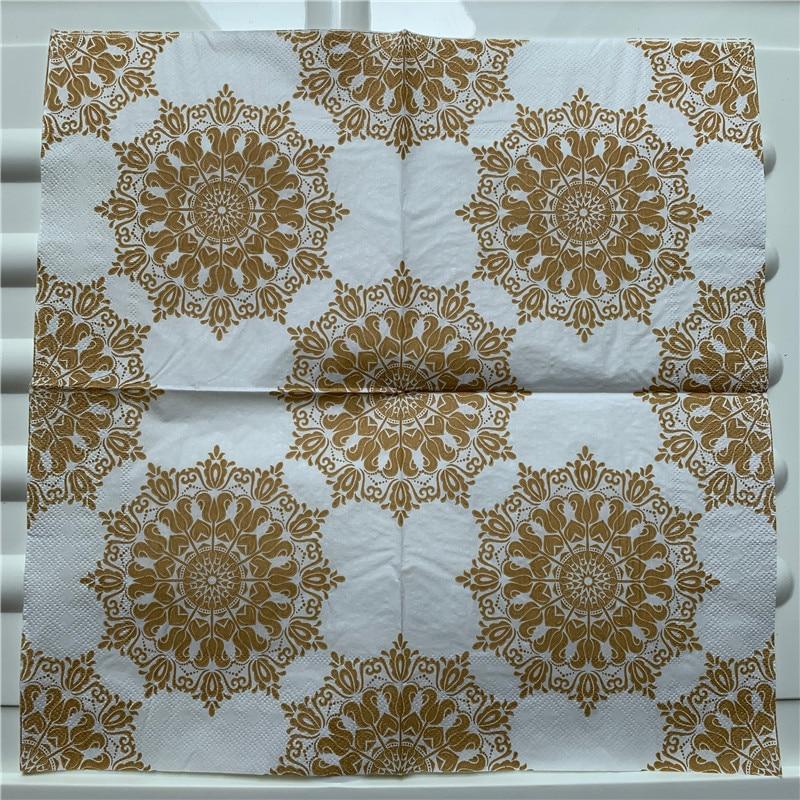 Image 4 - 20 vintage Napkin paper elegant tissue handkerchief red gold green purple flower decoupage servilletas wedding party home decor-in Disposable Party Tableware from Home & Garden