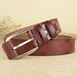 Image 4 - 110 125x3.8cm Classic lattice leather genuine leather belt Mens luxury man brand cowboy belts for men jeans ceinture homme C217