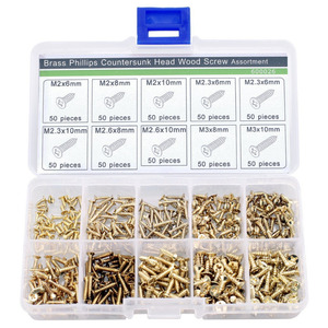 Image 1 - new 500 Piece Brass Plated Wood Screw Assortment self tapping screws teeth mouth fast Muhe small metal screws
