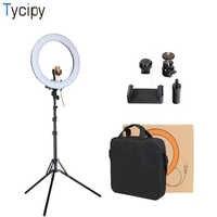 Promoción de liquidación 18 anillo de luz regulable fotografía estudio fotográfico teléfono Video LED anillo lámpara de luz para cámara de Smartphone
