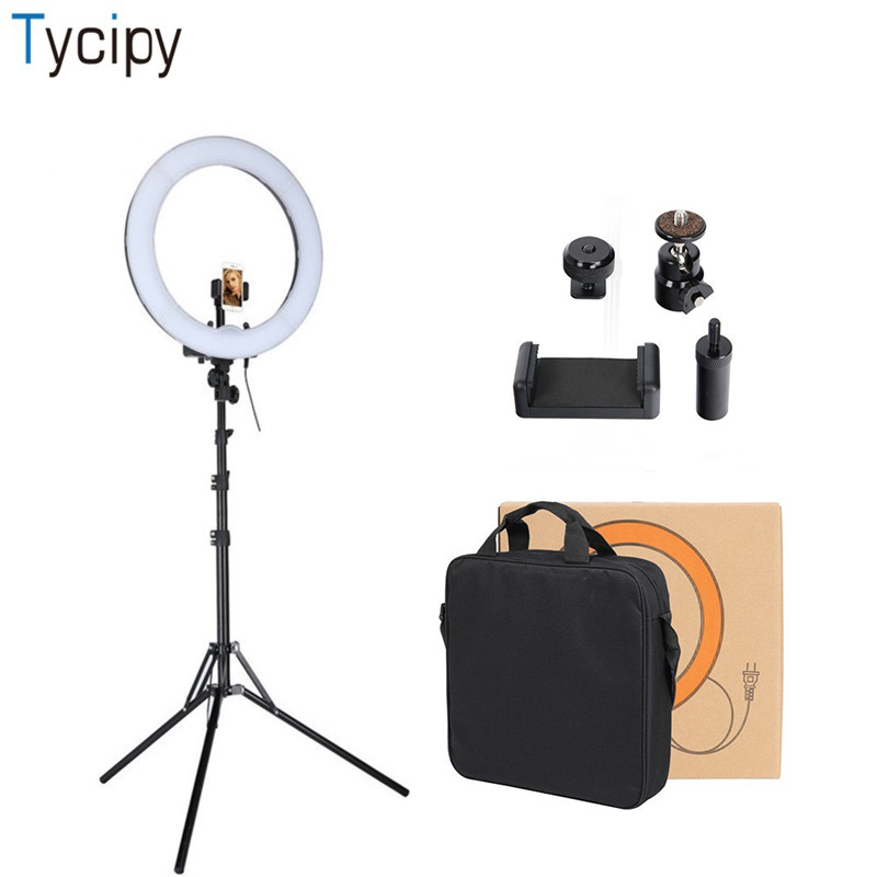 Tycipy 18 anneau lumière professionnel Dimmable photographie Photo Studio téléphone vidéo LED anneau lumière lampe pour Smartphone appareil Photo