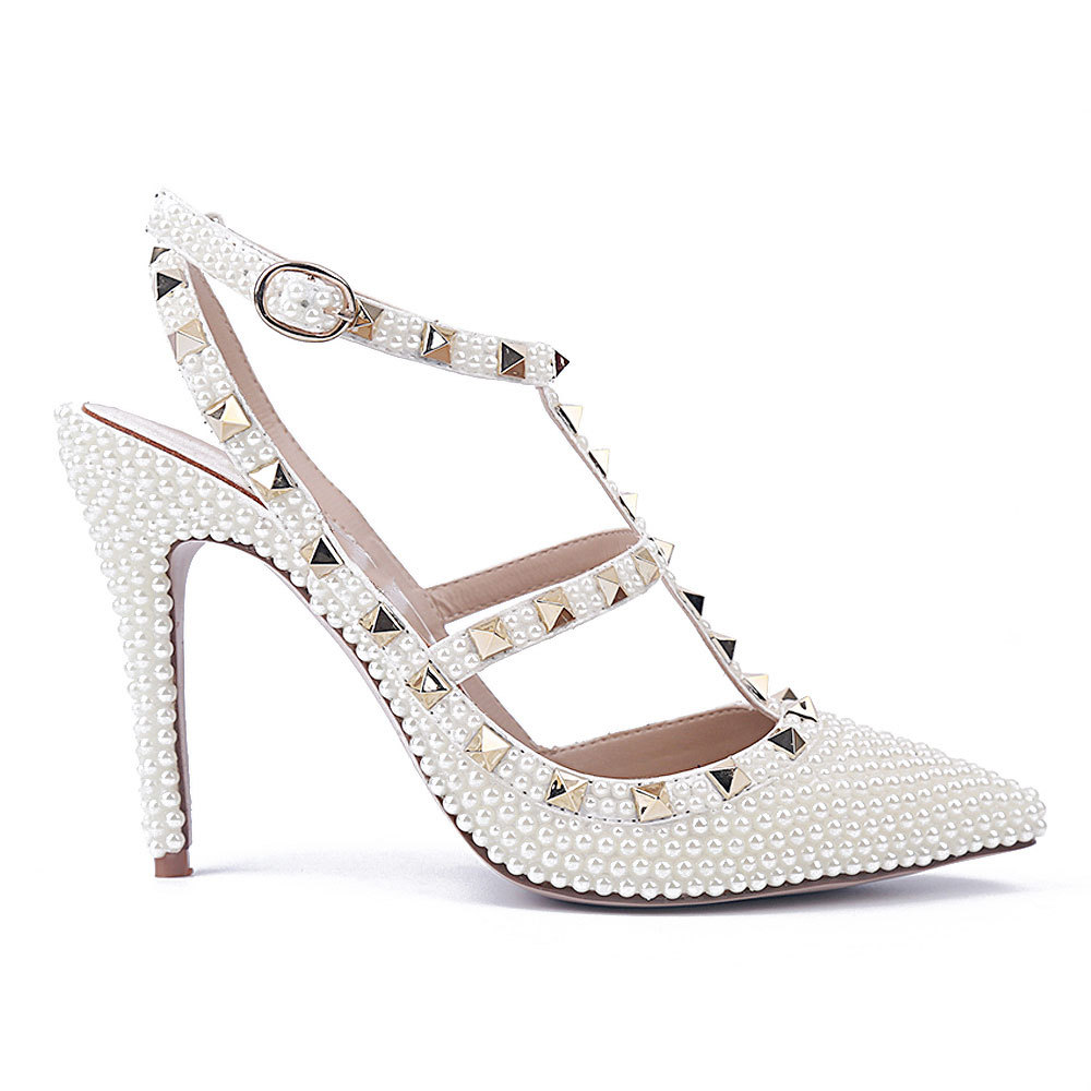 LSDN-52553 New Fashion Pearl Rivets White Sexy Sandals Wedding Banquet High Heels Womens ShoesLSDN-52553 New Fashion Pearl Rivets White Sexy Sandals Wedding Banquet High Heels Womens Shoes