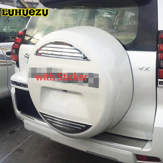 Garnitures décoratives d'autocollant de lettre de couverture de pneu de rechange arrière de voiture d'abs pour les accessoires de Toyota Land Cruiser Prado FJ150 2018
