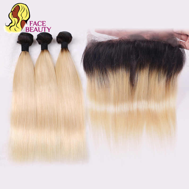 Facebeauty Preplucked 1B 613 Ombre Blonde Remy Brazillian Human Straight Hair 2/3/4 Bundles with 360 Lace Closure Frontal Pieces