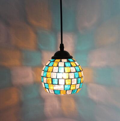 ФОТО Shipping continental retro cafe bar entrance lamps club Pendant Lights Western-style food restaurant art mosaic glass lamps