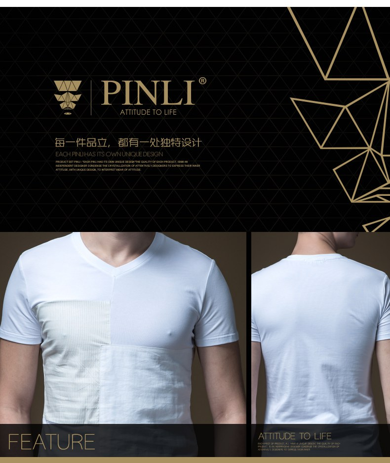 Linkin Park Palace Product Made The New Summer V-neck Splicing Men's Cultivate Morality Short Sleeve T-shirt Coat B192211278 99