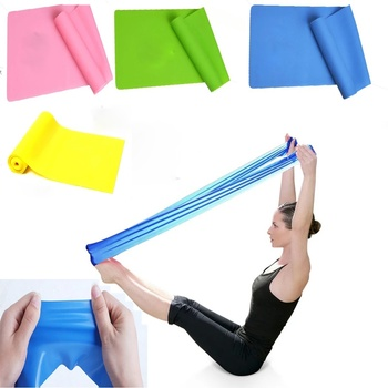 DHL 50PCS 1 5m X 15cm Elastic GYM Yoga Pilates Rubber Stretch Band Strap Resistance Exercise