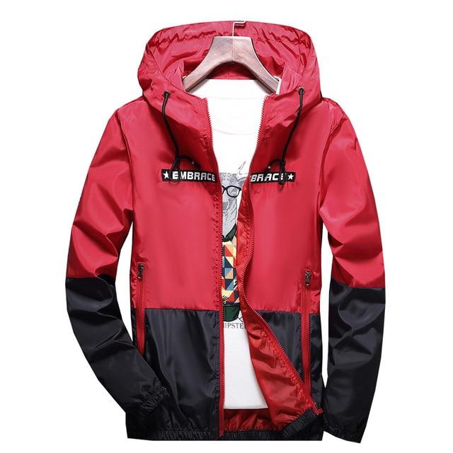 New Spring Autumn Bomber Hooded Jacket Men Casual Slim Patchwork Windbreaker Jacket Male Outwear Zipper Thin Coat Brand Clothing 2