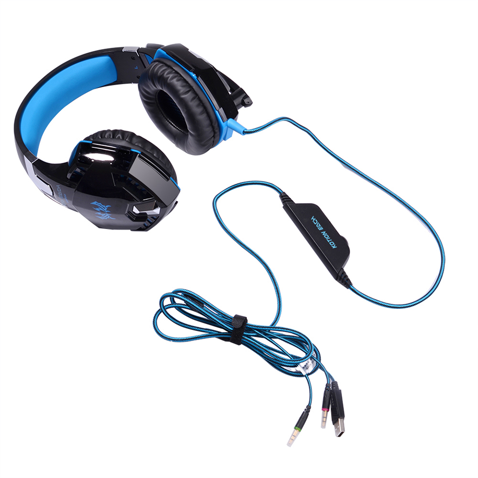 Kotion Each G9000 35 Mm Getaran Cahaya Led Usb Stereo Gaming Headset Avan A6 Gamer Sejati Setiap G2000 Headphone Dengan Mikrofon Mic Bercahaya Lampu Kabel Untuk