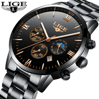Watches Men Luxury Brand LIGE Chronograph Men Sports Black Watches Waterproof Full Steel Quartz Men S