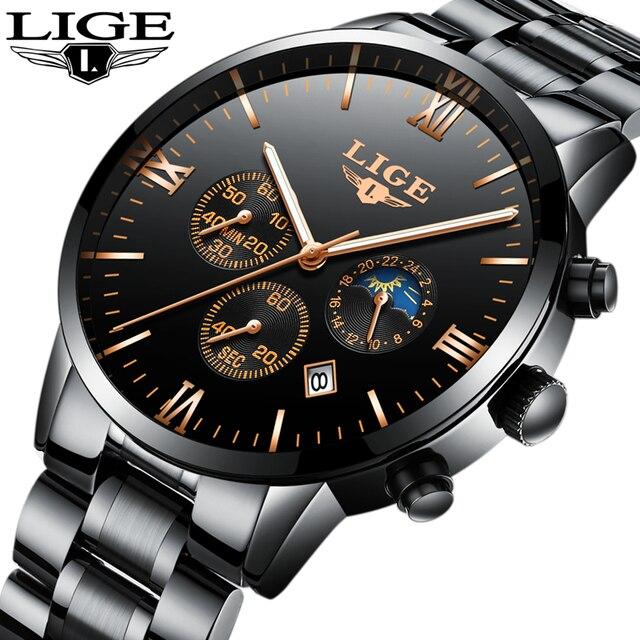 Часы Для мужчин Элитный бренд lige хронограф Для мужчин Спорт черный Часы Водонепроницаемый полный Сталь кварцевые Для мужчин смотреть Relogio Masculino