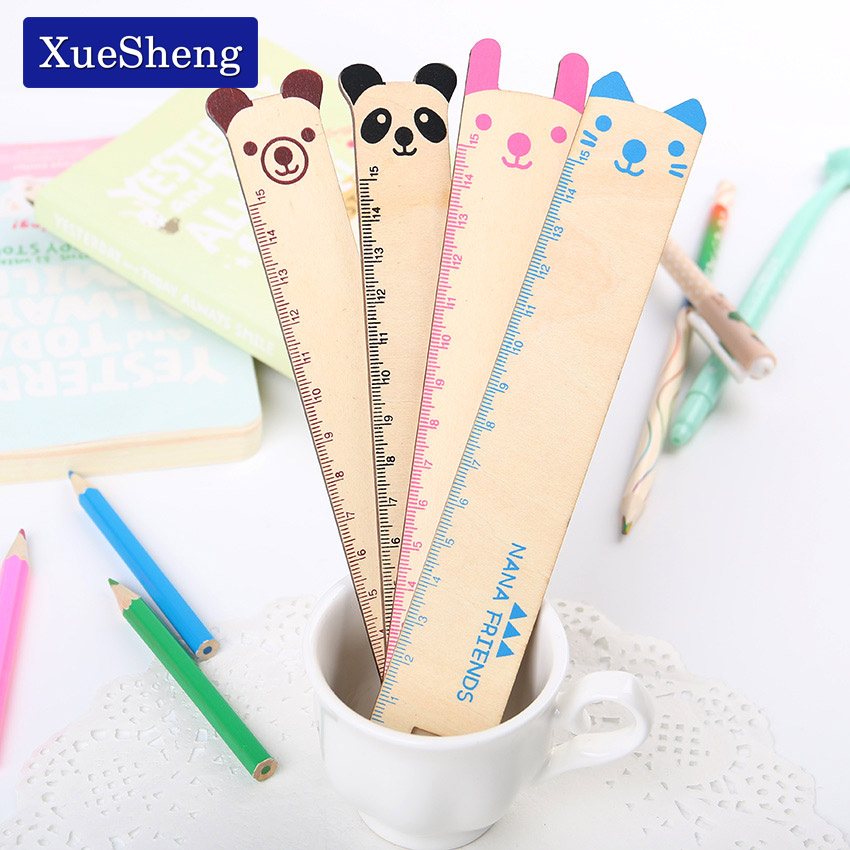 4 PCS Cute Animal Wooden Ruler Student Prizes Korea Creative Stationery 15cm Rulers For School Supplies