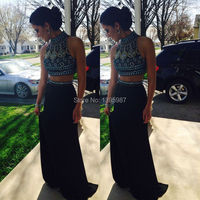 Long Crystal Beaded Chiffon Corset Prom Ball Dresses Formal Evening Party Gown 2015 Dubai Arabic Two