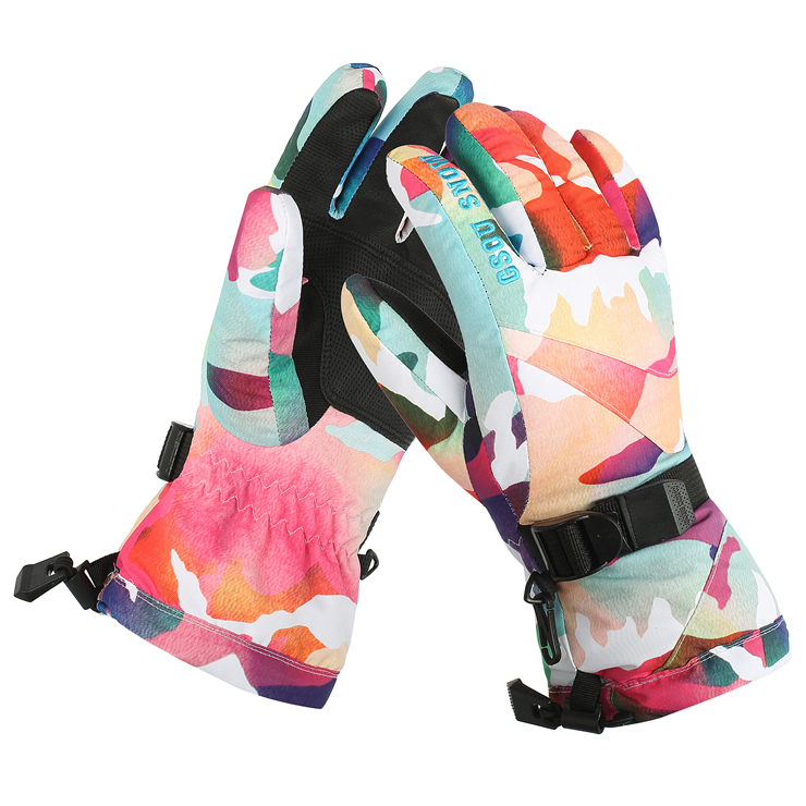 GSOU SNOW counter genuine outdoor super warm font b gloves b font ladies colorful series