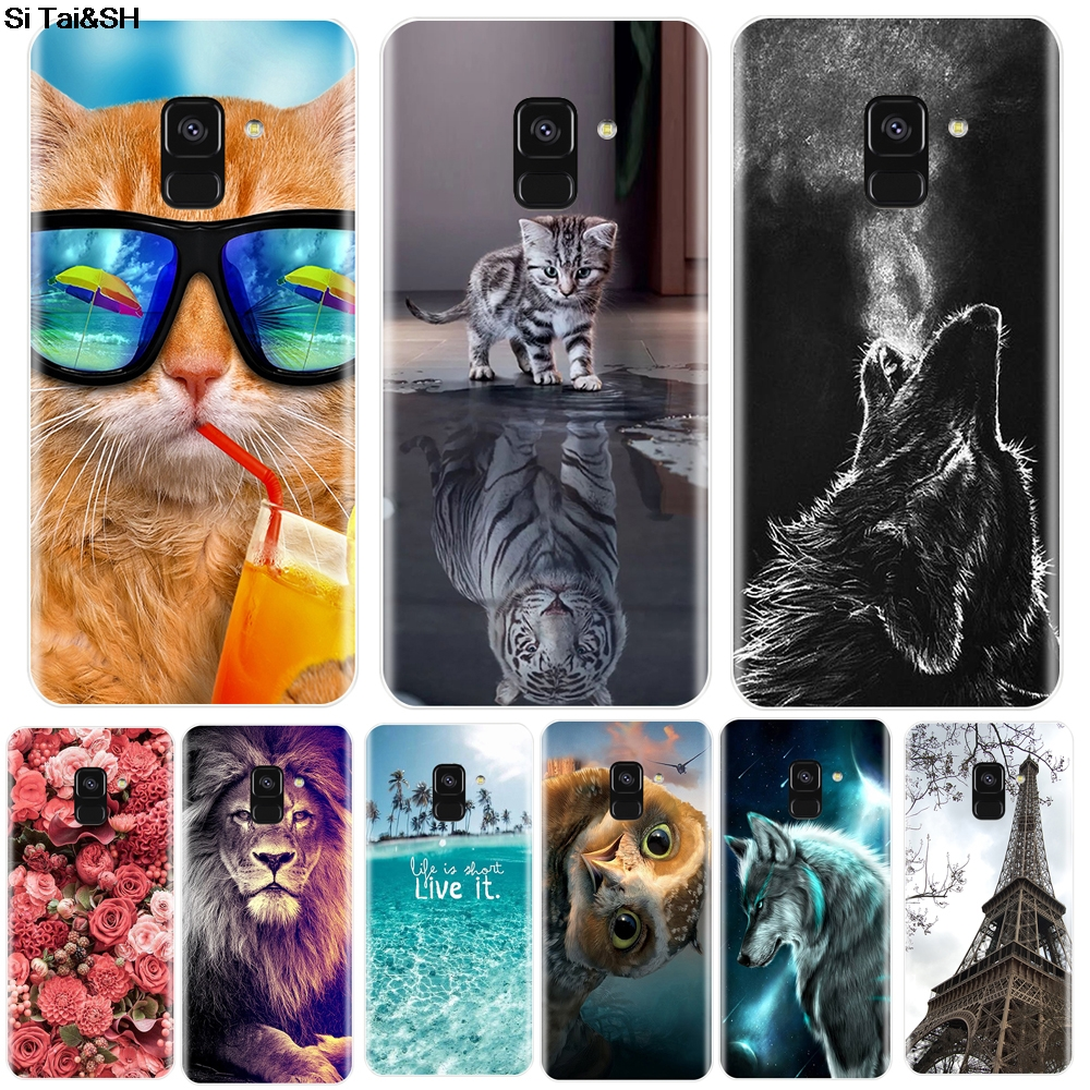 Phone <font><b>Case</b></font> For <font><b>Samsung</b></font> <font><b>Galaxy</b></font> A6 <font><b>A8</b></font> Plus <font><b>2018</b></font> Soft Silicone TPU Cute <font><b>Cat</b></font> Painted Back Cover For <font><b>Samsung</b></font> A3 A5 A7 2016 2017 <font><b>Case</b></font> image