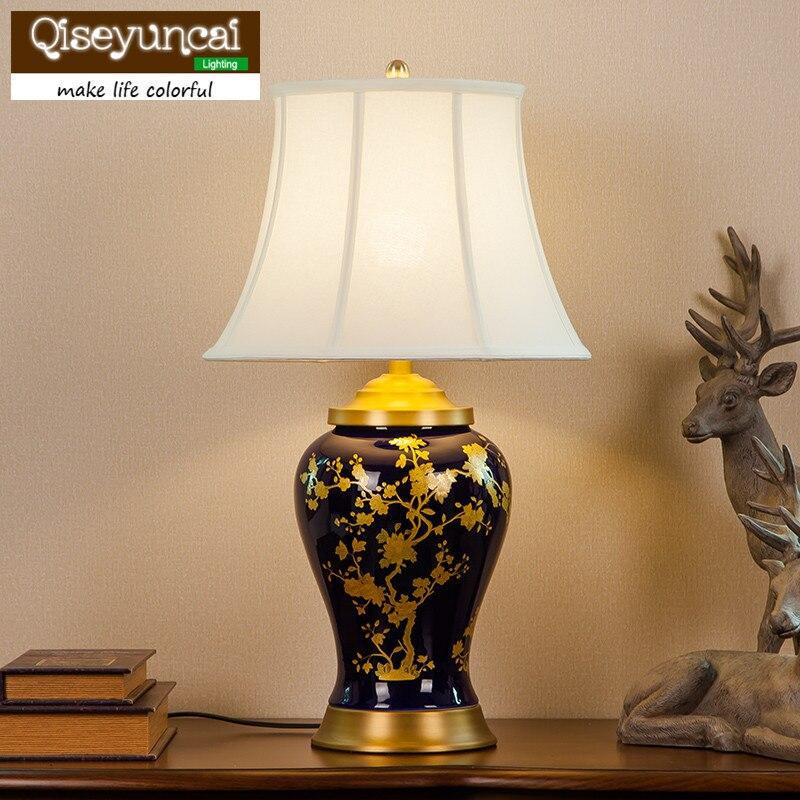 Современные медные Керамическая Настольная лампа гостиная спальня исследование декоративные керамические декоративные настольные лампы